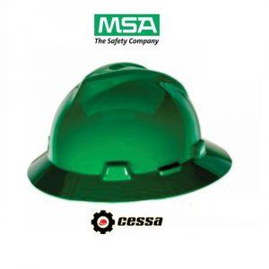 Casco MSA V-GARD tipo ala ancha verde