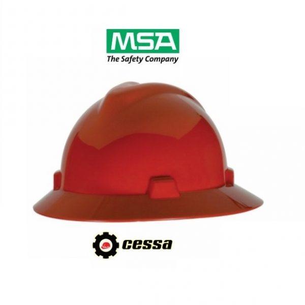 Casco MSA V-GARD tipo ala ancha rojo