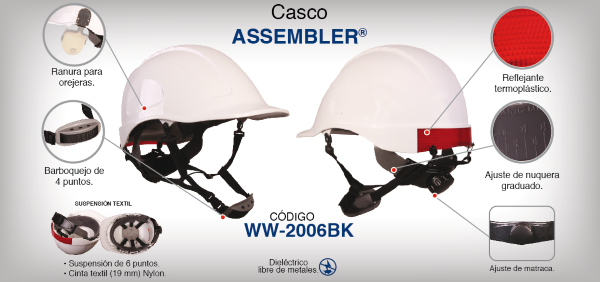 Casco Assembler Blanco con Suspensión Textil Dielectrico