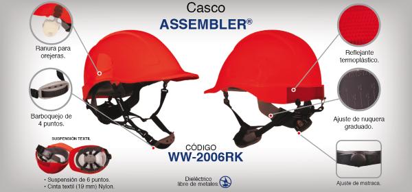 Casco Assembler Rojo con Suspensión Textil Dielectrico